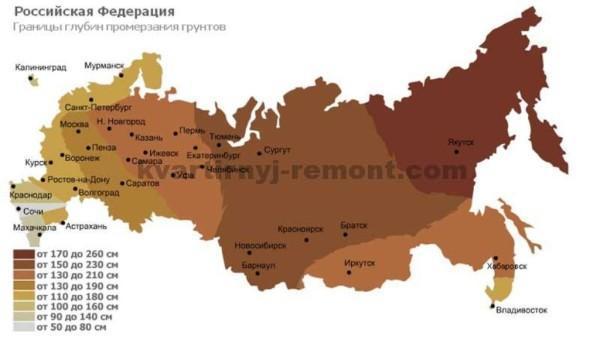 Глубина промерзания грунта - Карта