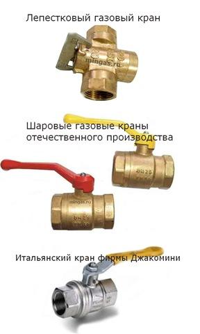 Газовые краны для подключения плиты