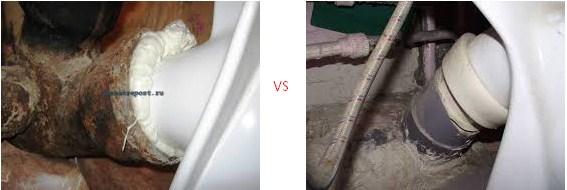 В чем разница подключения унитаза к чугунной или пластиковой трубе