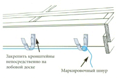 Установка крепежа для водостока