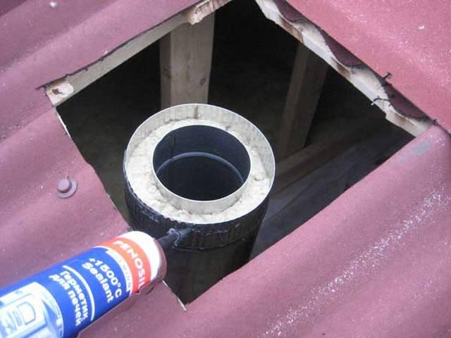 Проход сендвич трубы через крышу бани