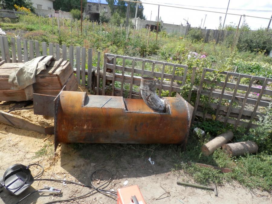 Делаем печь в баню из 530 мм трубы