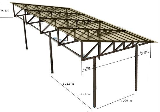 Односкатная крыша из металла