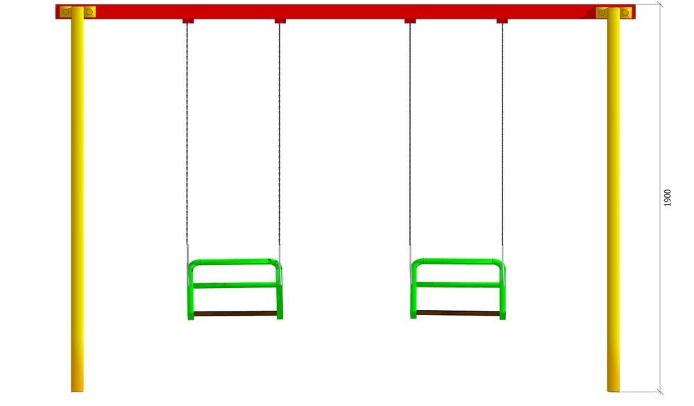 Конструкция качелей на резьбовых соединениях, без сварки