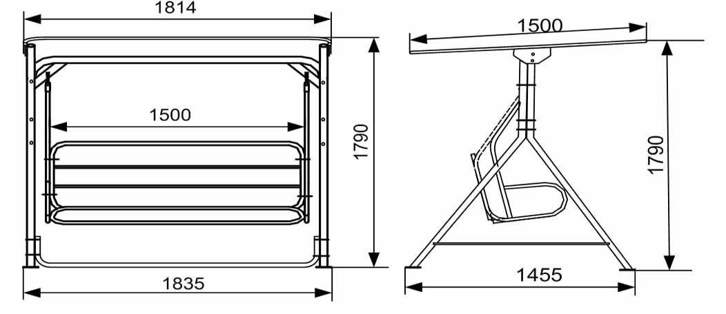 Схема качелей лавочки, гамака